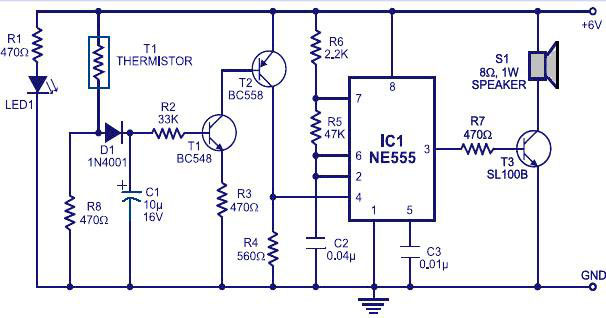 Fire Alarm Circuit using IC 555 - Gadgetronicx