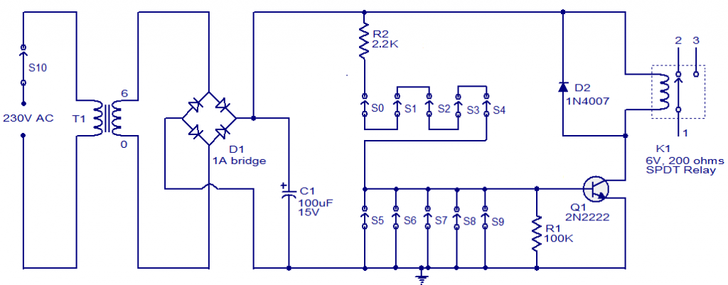 one-transistor-code-lock-circuit