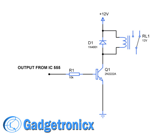 Sequential timer circuit using ic 555 to switch relays gadgetronicx relay driving transistor circuit diagram ccuart Images