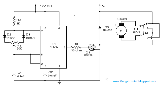 dc motor speed control circuit using ic 555 gadgetronicx
