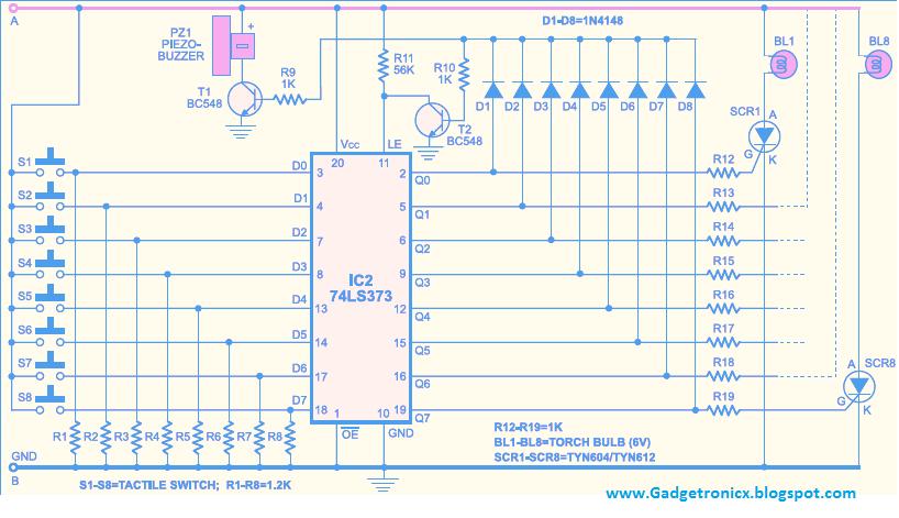 Quiz Buzzer Circuit using IC 74LS373