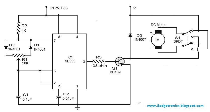 DC Motor speed control Circuit using IC 555 Gadgetronicx