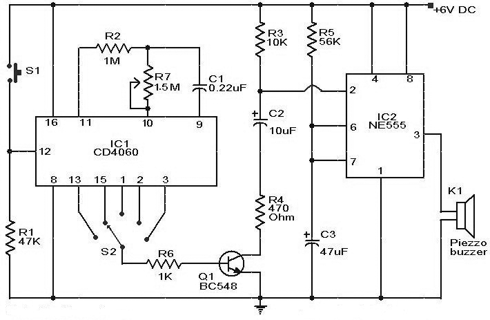 Selective Timer Alarm Circuit Ic555 Cd4060