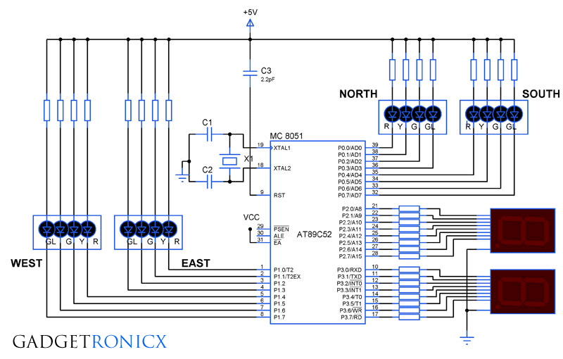 four-way-traffic-light-system-8051-microcontroller