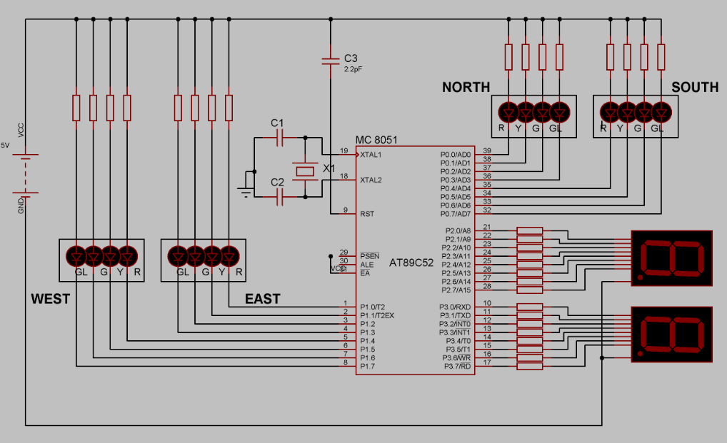 Four Way Traffic Light System Using 8051 Microcontroller And 7 Segment