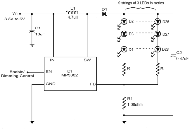 led driver circuit diagram using mp3302 gadgetronicx. Black Bedroom Furniture Sets. Home Design Ideas