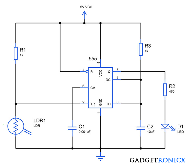 Light Activated Switch Circuit Using Ldr And Ic 555