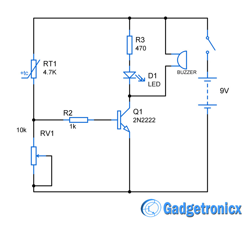 Heat sensor circuit Diagram - Gadgetronicx