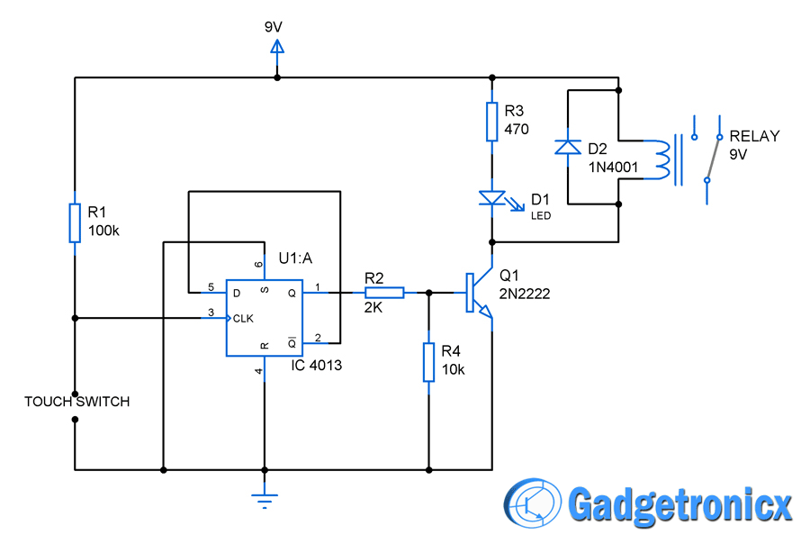 touch switch circuit diagram using flip flop gadgetronicx rh gadgetronicx com touch light switch circuit diagram touch on off switch circuit diagram