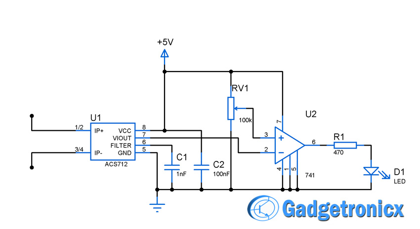current sensor switch circuit gadgetronicx rh gadgetronicx com dc current sensor circuit diagram hall effect current sensor circuit diagram