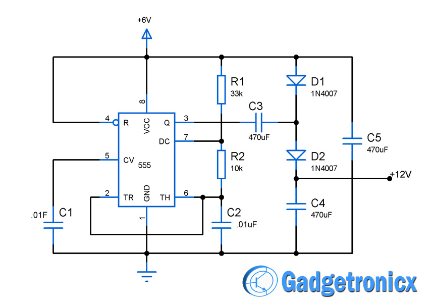 Voltage doubler circuit using IC555 - Gadgetronicx