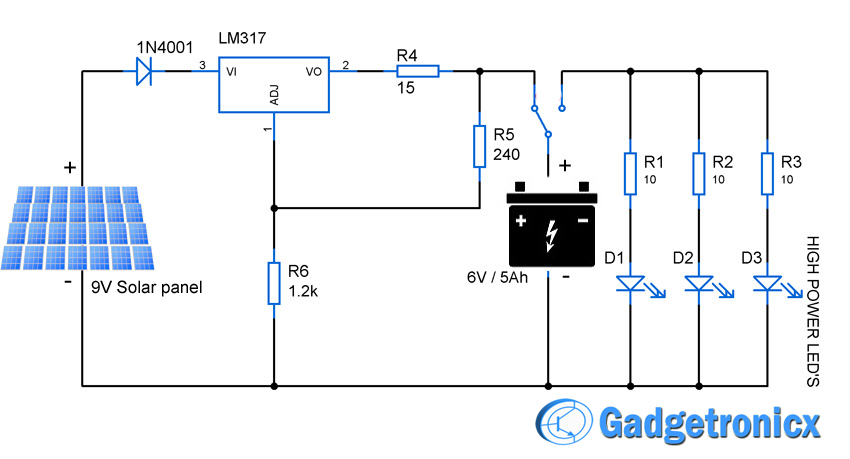 solar powered led light circuit gadgetronicx rh gadgetronicx com solar power plant schematic diagram solar power bank circuit diagram