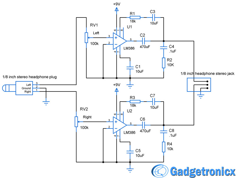 Headphone Amplifier Circuit Gadgetronicx