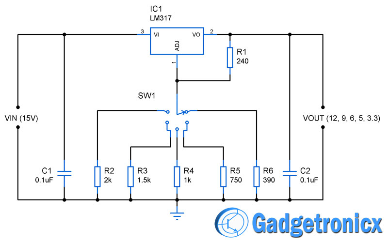 adjustable voltage regulator 12v, 9v, 6v, 5v & 3 3v multiple voltage power supply circuit 12v regulator diagram at soozxer.org