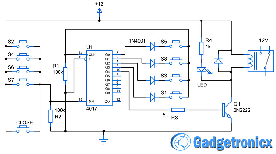Simple Code Locker Circuit Using Cd4017 Gadgetronicx