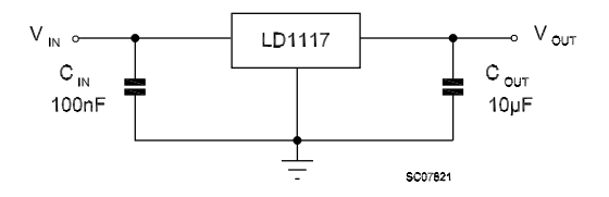 ld1117-fixed-voltage-3.3v-circuit