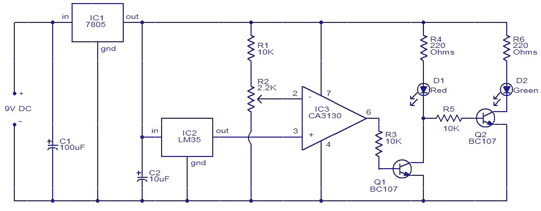 temperature controlled led gadgetronicxthis is one of the hobby circuits that we can build by our own in our home the function of this circuit is to indicate the temperature levels using a simple