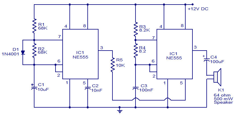 police-siren-using-NE555  Timer Schematic on chip toy organ, voltage-controlled oscillator, electronic oscillator, phase-locked loop, phase-shift oscillator, wien bridge oscillator, crystal oscillator, charge controller, operational amplifier, geiger counter, relaxation oscillator, operational amplifier applications,