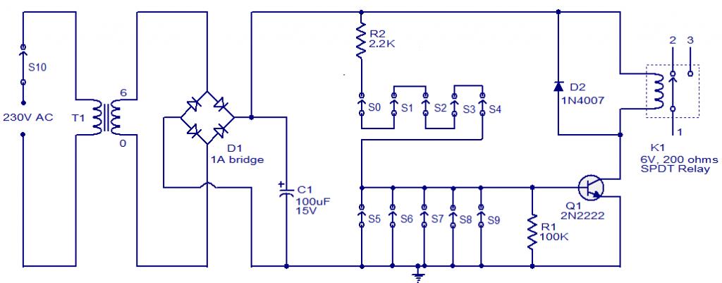 one-transistor-code-lock-circuit