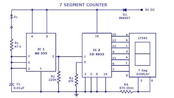 7 segment counter display circuit using ic 555 and cd4033 gadgetronicx rh gadgetronicx com