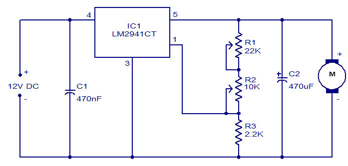 Motor Speed Control Circuit Using Lm2941ct