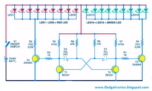 Led Christmas Lights Using Transistors Gadgetronicx
