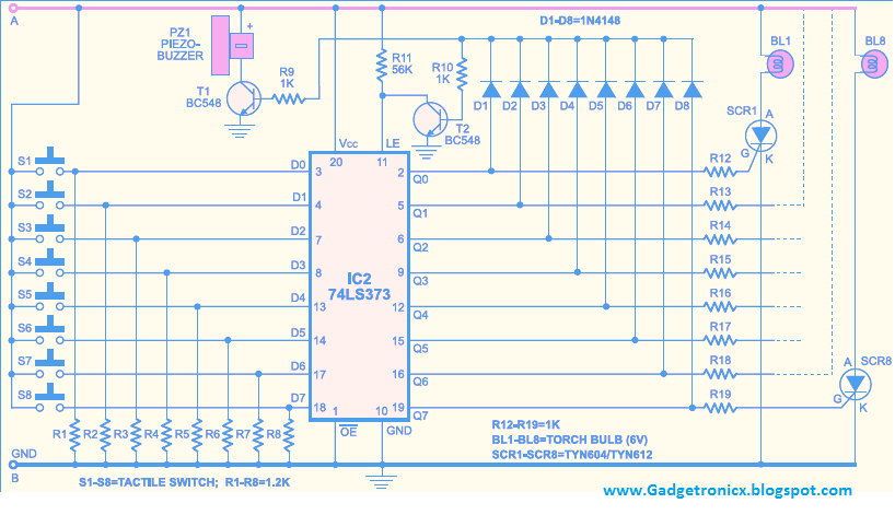 gadgetronicx page 44 of 52 electronics projects, circuit quizz buzzer system using arduino