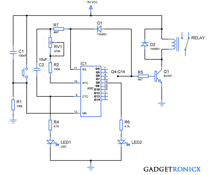 how to build 24 hours timer circuit with ic 4060 gadgetronicx