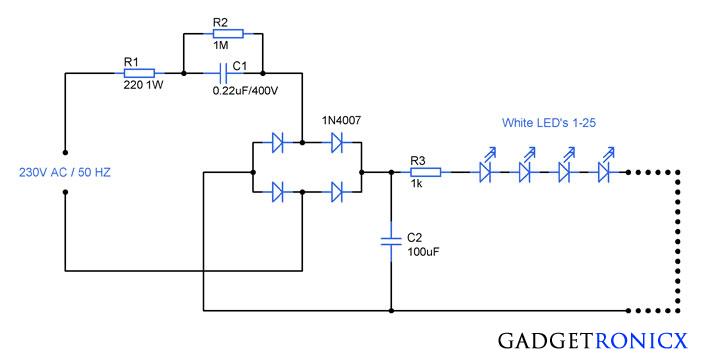 230v ac mains operated led light circuit diagram. Black Bedroom Furniture Sets. Home Design Ideas