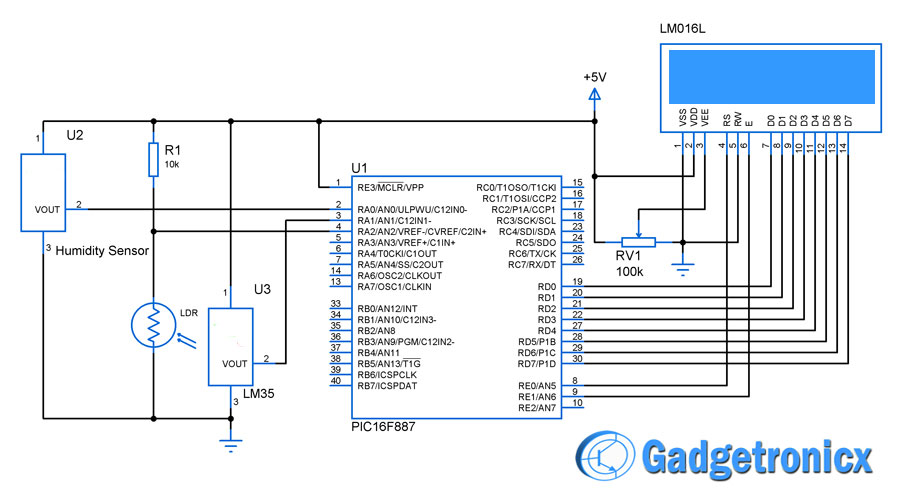 Weather meter using PIC 16F877 Microcontroller - Gadgetronicx