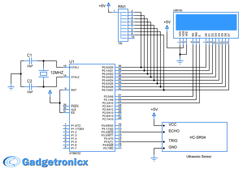 ultrasonic distance meter using hc sr04 and 8051 gadgetronicxschematic design of ultrasonic distance meter ultrasonic interface 8051 microcontroller