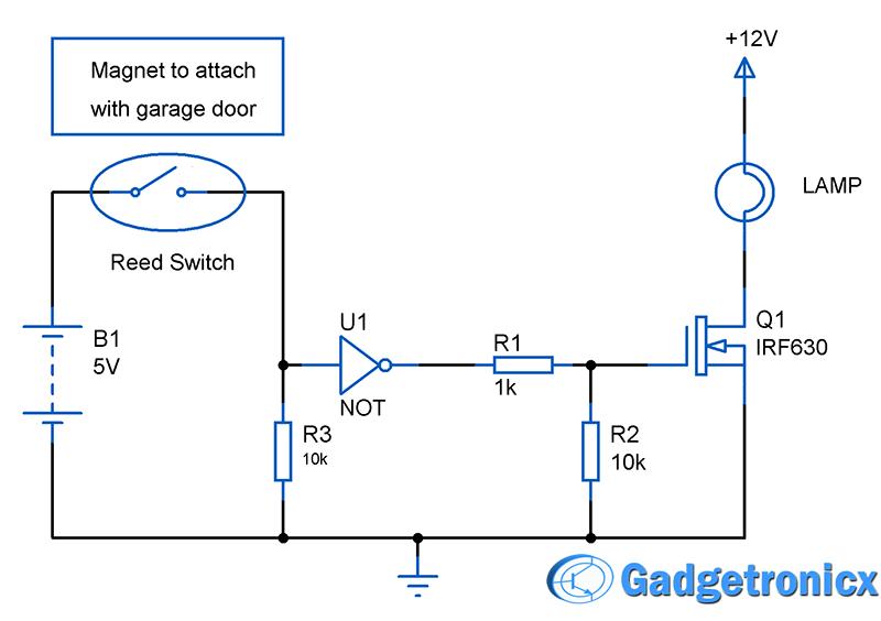 Automated Garage door lights circuit - Gadgetronicx