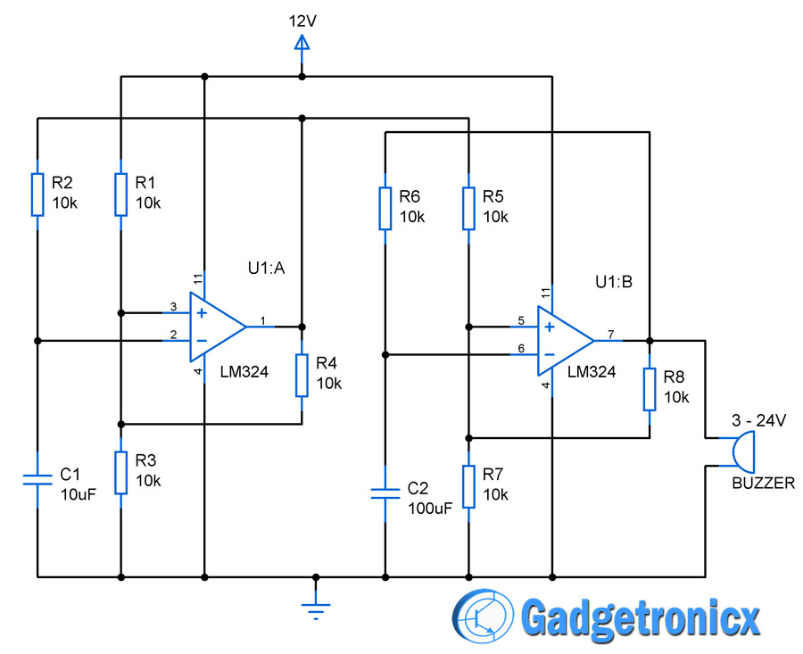 Awesome Loud Alarm Circuit Using Opamp Lm324 Gadgetronicx Wiring Digital Resources Indicompassionincorg
