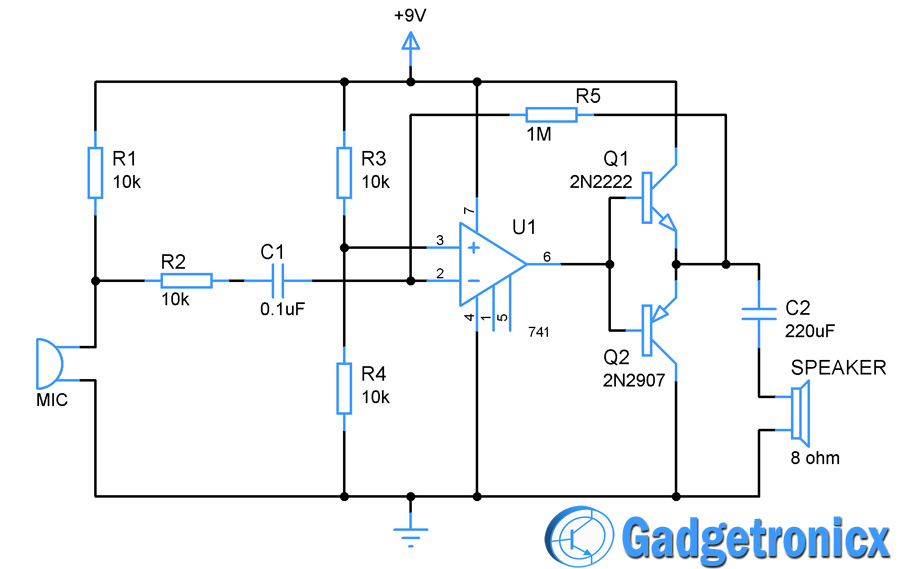 Wired spy bug Circuit - Gadgetronicx