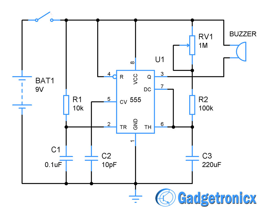 1 To 10 Minutes Alarm Using Ic 555 Gadgetronicx