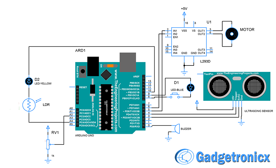Smart Vehicle using Arduino Uno - Gadgetronicx on