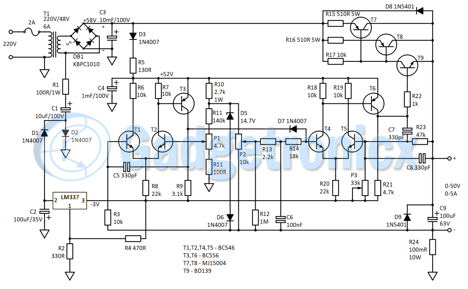 Bench Lab Power Supply 0 50v 5a Gadgetronicx Symmetrical Regulated Schematic Circuits Circuit Diagram Of