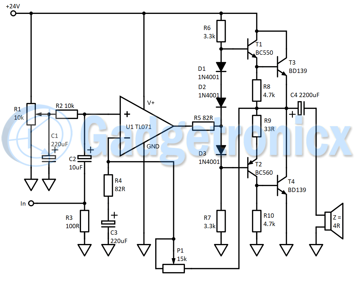 Building A Class B Amplifier Circuit Gadgetronicx Current Detection Part Diagram Amplifiercircuit Of