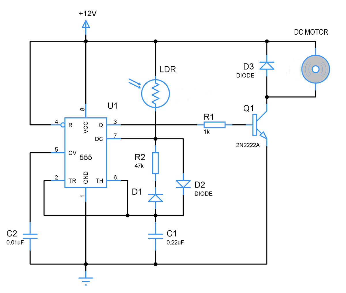 Light Controlled Led Lights And Dc Fan Using Ic 555 Gadgetronicx Schematic Wiring Diagram Motor Controller Circuit With Ne555 You Could Try Out Another Variant Of This By Replacing The Leds A Will Work In Similar Nature Control Speed