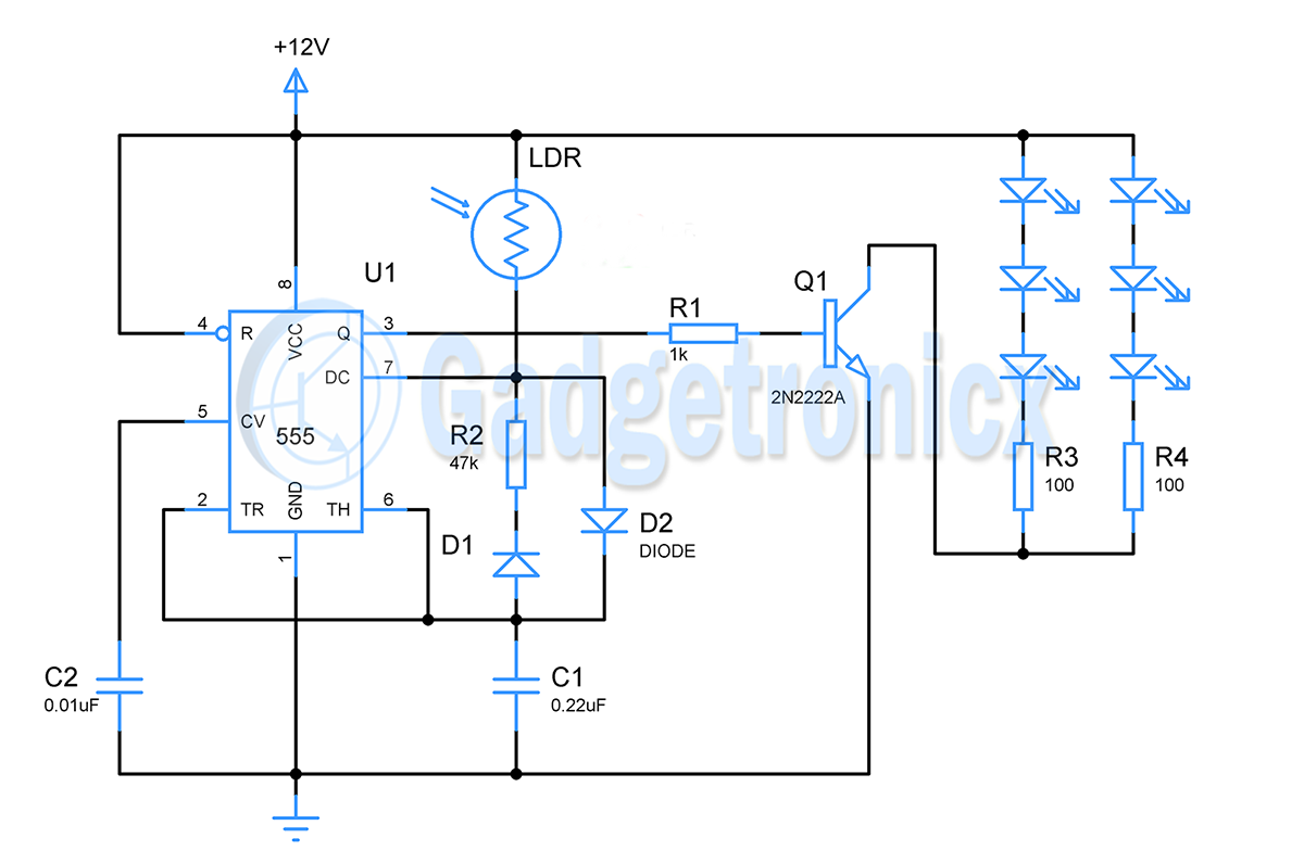 Light Controlled Led Lights And Dc Fan Using Ic 555 Gadgetronicx Op Amp Multivibrator Oscillator Electronics Electrical Quizzes Here In This Circuit Is Wired To Function As An Astable