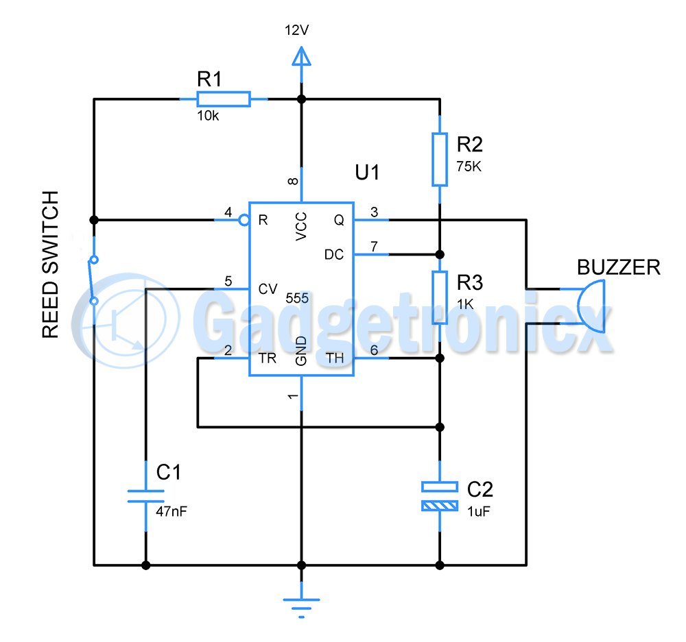 Simplest Theft Alarm Circuit Gadgetronicx Pulse Timer Control Relay With Ic555 Diagram And Circuits Are Quite Famous You Probably Could Have Seen Plenty Of Different Versions It The Above Is Yet Another Burglar
