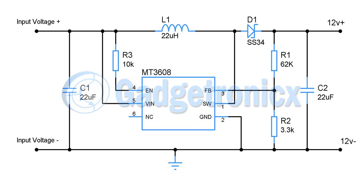 5v to 12v  DC to DC Boost converter    circuit     Gadgetronicx