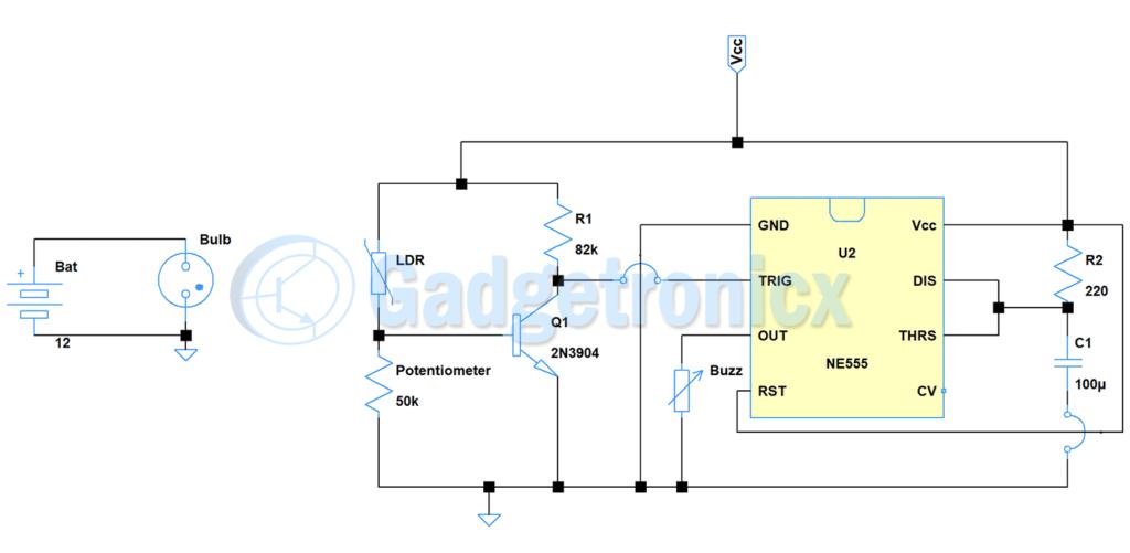 smoke detector circuit using ldr and 555