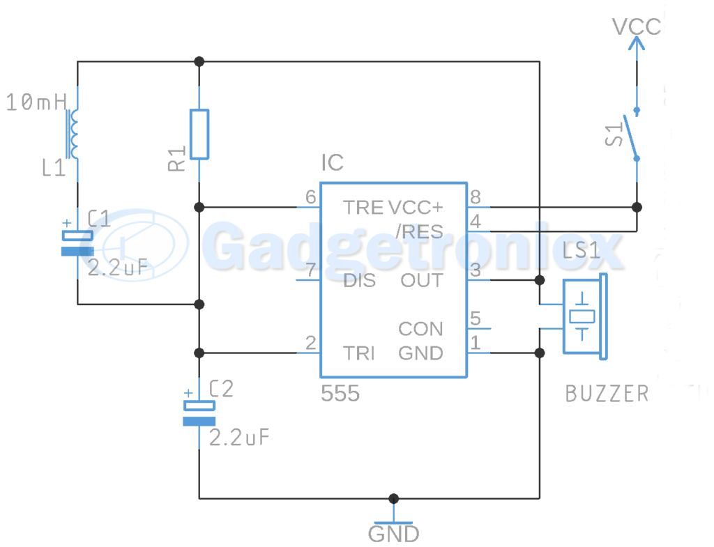 Metal detector circuit using IC 555 and Buzzer - Gadgetronicx on voltage-controlled oscillator, wien bridge oscillator, 555 timer pin diagram, operational amplifier, crystal oscillator, phase-locked loop, electronic oscillator, operational amplifier applications, seven segment display pin diagram, ic 7805 pin diagram, phase-shift oscillator, relaxation oscillator,