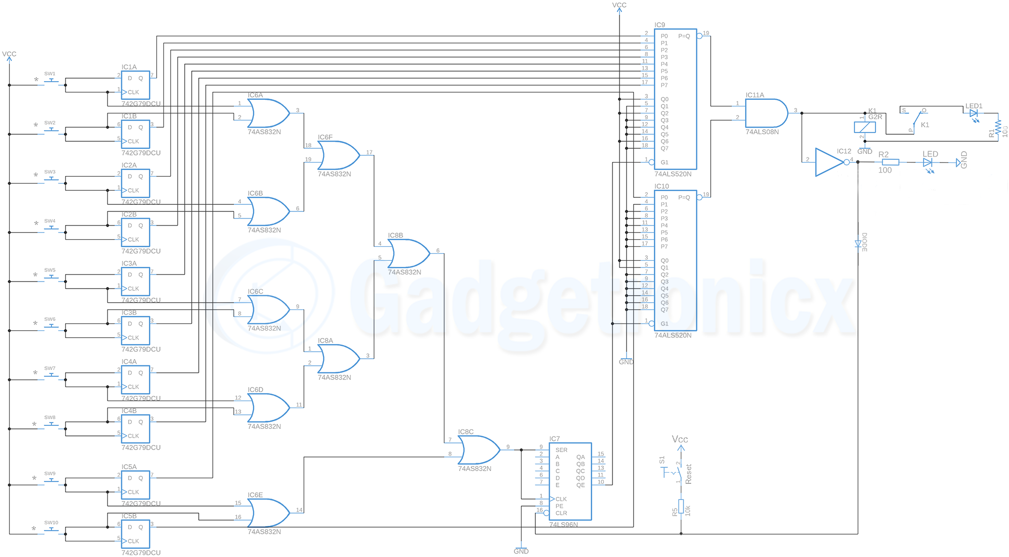 Digital Code Lock Circuit Without Using Microcontroller